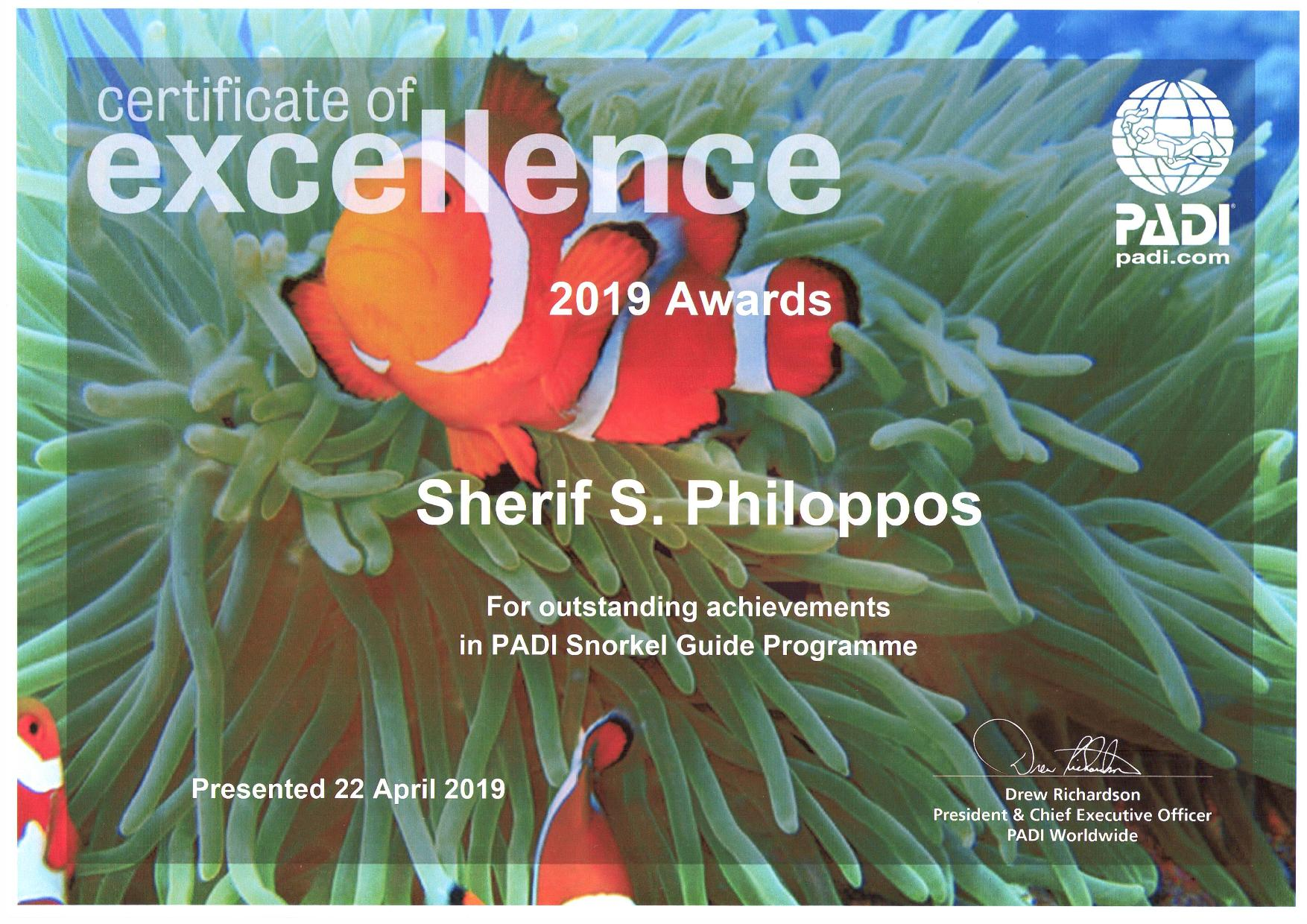 PADI´s Certificate of Excellence for Sherif!!!!